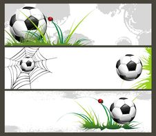Free Football Banners With The Balls Royalty Free Stock Photo - 14337965