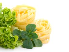 Free Fresh Salad, Lettuce Leaves And Macaroni Royalty Free Stock Photos - 14338068