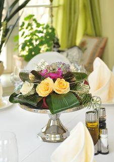 Original Floral Arrangement On The Table Stock Photo