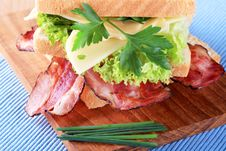 Bacon And Cheese Sandwich Stock Photo