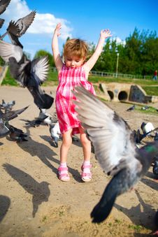 Free Girl And Pigeons Stock Photo - 14339120