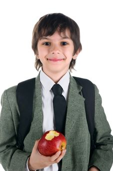 Free Little Boy In Bussiness Style With The Apple Royalty Free Stock Images - 14339219