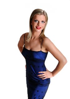 Free Young Woman With Beautiful Body In Blue Dress Stock Images - 14339434