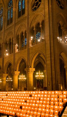 Candles In Notre Dame Royalty Free Stock Images