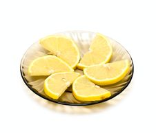 Lemon Slices On Plate Royalty Free Stock Photography