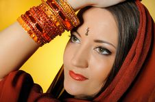 Free Beautiful Woman In Indian Traditional Jewellery Stock Photography - 14339792