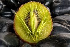 Tree Leaflets, Half Kiwi And Stones Stock Photo