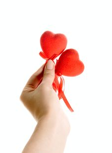 Red Hearts In Human Hand Royalty Free Stock Photos