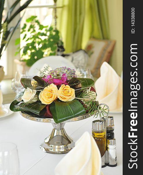 Original floral arrangement on the table