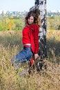 Free The Girl Near A Birch Royalty Free Stock Photos - 14345648