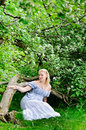 Free Pregnant Woman In Blooming Garden Royalty Free Stock Image - 14349236