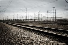 Railroad Track With Focus On Track Royalty Free Stock Image