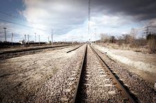 Railroad Track With Focus On Track Royalty Free Stock Images