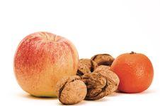 Free Apple, Orange And Walnuts Stock Photography - 14340332