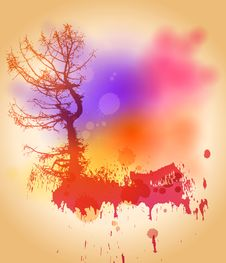 Free Tree On The Color Watercolor Background Stock Image - 14340341