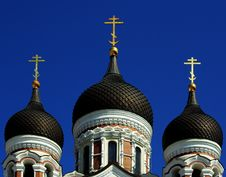 Free Domes Of The Alexander Nevsky Cathedral Royalty Free Stock Images - 14340359