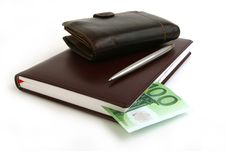 Banknote 100 Euro, Notebook, Purse Royalty Free Stock Photo