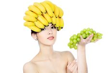 Free Banana And Grapes Royalty Free Stock Photo - 14340835