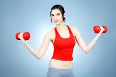 Girl With Dumbbells Stock Image