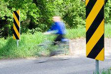 Free Motion Blur Of Cyclist On Country Road Stock Image - 14341731