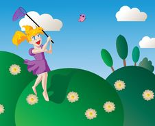 Free Happy Little Girl Chasing Butterflies Royalty Free Stock Photos - 14341888