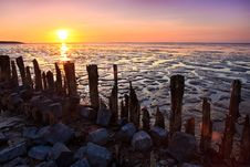 Poles In The Ocean At Sunset Royalty Free Stock Image