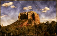 Free Vintage Sedona Arizona Butte Royalty Free Stock Photo - 14342385