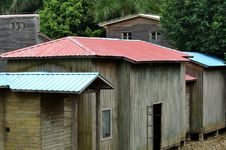 Free Wooden Huts With Colorful Roof Stock Image - 14342561