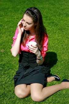 Free Young Businesswoman Drinking Tea And Talking Stock Photos - 14343063