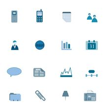 Free Business Icon Set In Blue Stock Photos - 14343283