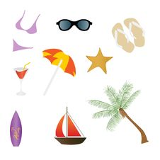Free Beach And Summer Icons Stock Images - 14343284