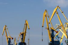 Free Four Big Industrial Cranes At Commercial Dock Stock Photos - 14348033