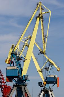 Cranes Working At The Commercial Dock Stock Images