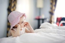 Free Thoughtful Toddler Girl In Nice Hat Royalty Free Stock Photos - 14349288