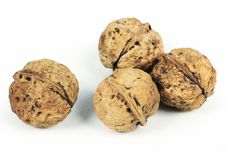 Free Four Whole Walnuts Royalty Free Stock Photo - 14349725