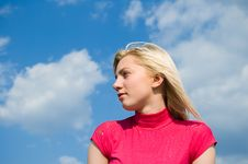 Free The Blonde Against The Sky Royalty Free Stock Photography - 14349917