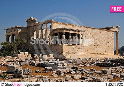 Erechtheion temple Athens and Poseydon Stock Photo