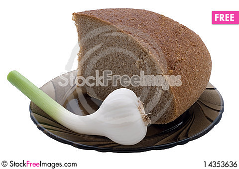 The bread and garlic on plate Stock Photo