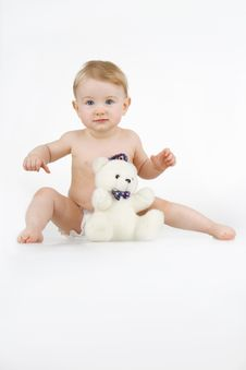 Free Girl With Teddy - Bear. Royalty Free Stock Image - 14350146