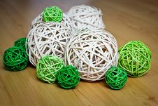 Free Decorative Balls On The Wooden Floor Royalty Free Stock Images - 14350929