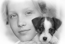 Free Young Girl And Her Puppy Royalty Free Stock Photography - 14352867
