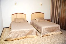 Interior Of Bedroom With Two Beds Royalty Free Stock Photography