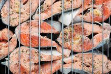 Free Salmon Grilled Barbecue Royalty Free Stock Photos - 14355688