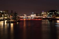 Night View Of The London Bridge And The Thames Royalty Free Stock Image