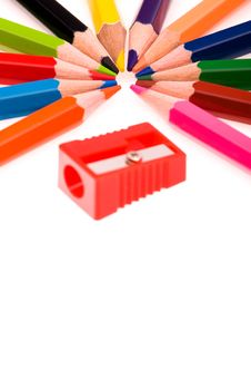 Free Multicolor Pencils And Red Sharpener Stock Images - 14357304