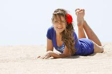 Young Girl On Beach Royalty Free Stock Photos