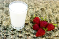 Milk And Strawberries Stock Photo