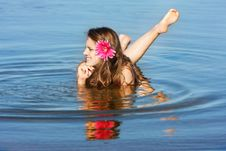 Young Beautiful Woman In Water Royalty Free Stock Photos