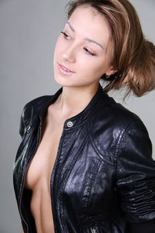 Beautiful Girl In A Leather Jacket Royalty Free Stock Image