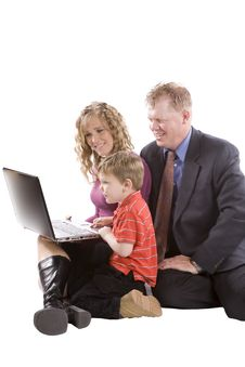 Free Family Working On Computer Royalty Free Stock Photography - 14358647